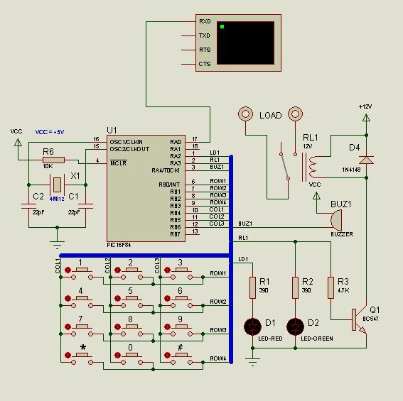 Programmable Combination Lock Circuit PIC16F84 programlanabilir kilit led buzer isis