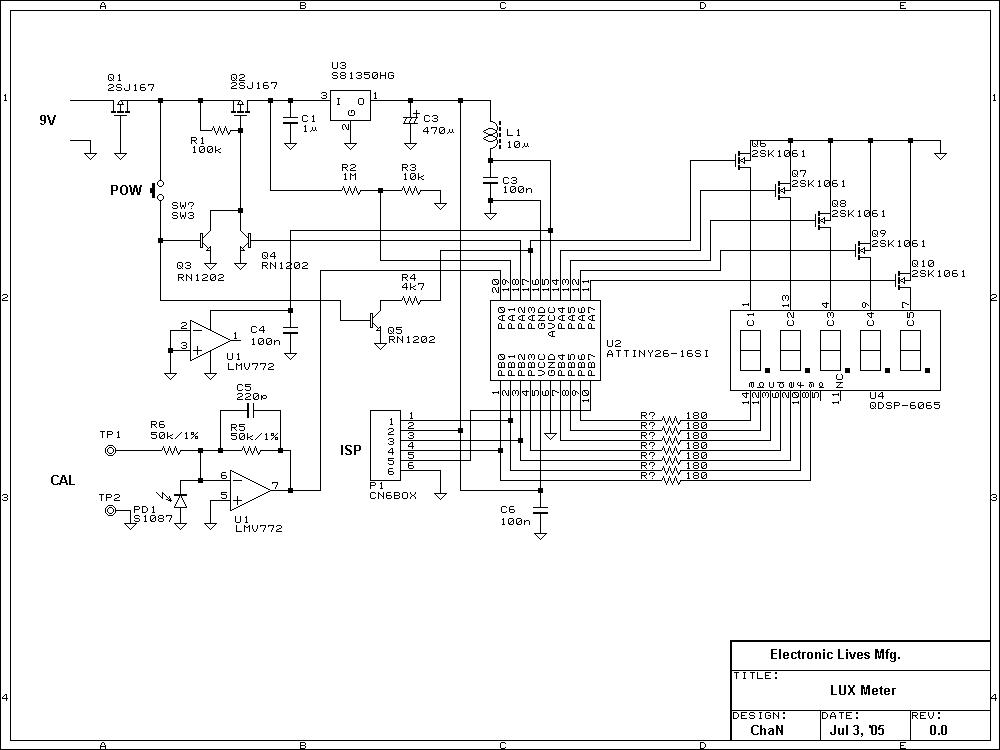 Lux Meter Circuit Atmel Attiny26 Light Measurement