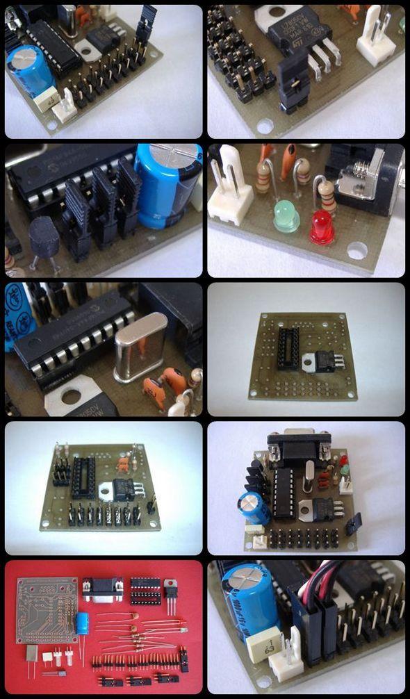 PC Servo Motor Control with PIC16F84 RS232 scheda multiservo dettaglio connettori servo tile