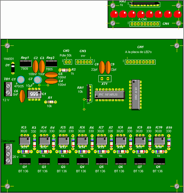 PIC16F84 Lamp Light Effects Circuit MOC3020 isolation BT137 Triac Control led lamba efekt devresi