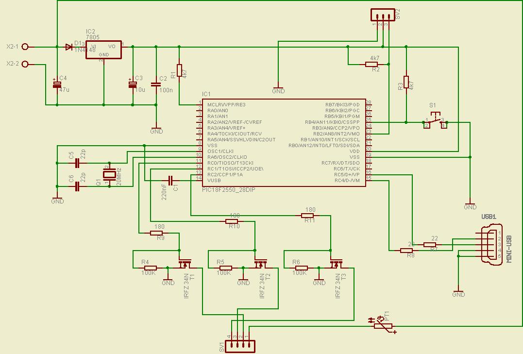 Usb Rgb Led Strip Control Pic18f2550 Mosfet Driver Circuit