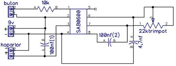 Electronic Door Chime Circuit Gong Sound  with SAB0600 sab0600 devre circuit