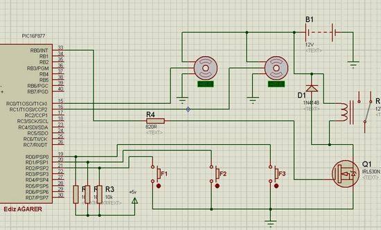 PIC16F877 Car  Wiper Control Circuit oto silecek kontrol isis devre motor