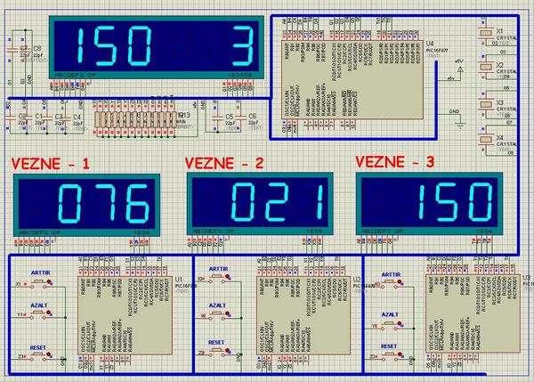 Q matic Circuit Application of PIC16F877 Microcontroller siramatik devresi vezne1 3 display devre
