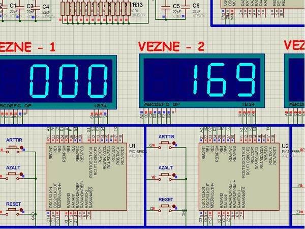 Q matic Circuit Application of PIC16F877 Microcontroller siramatik devresi vezne1 vezne2 display