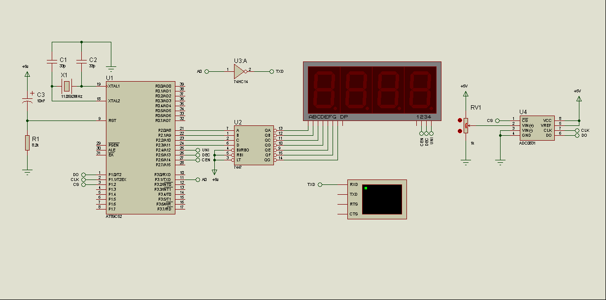 At C Adc Led Display on line following robot circuit