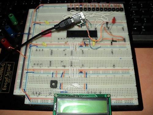 PIC18F4550 USB Keyboard (buttons LCD) microchip usb lcd buton test bred bord