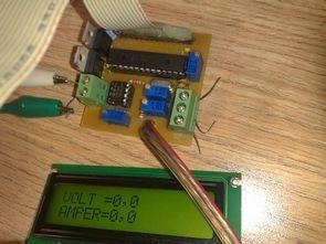 PIC16F876 lcd göstergeli volt amper metre devresi (pbp)