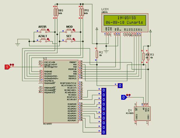 PIC16F877 PFC8583 Alarm Clock Circuit PicBasic - Electronics ... on