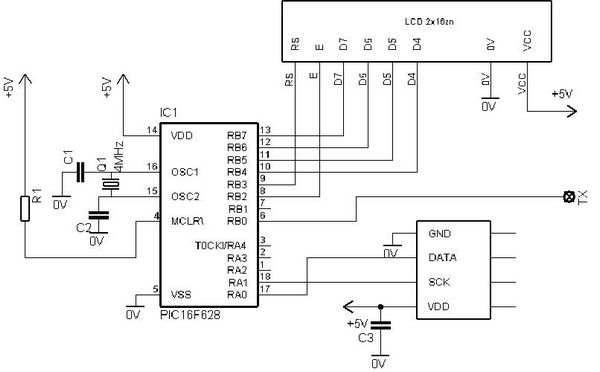 PIC16F628  Thermometer Hygrometer Circuit SHT11 sht11 termometre
