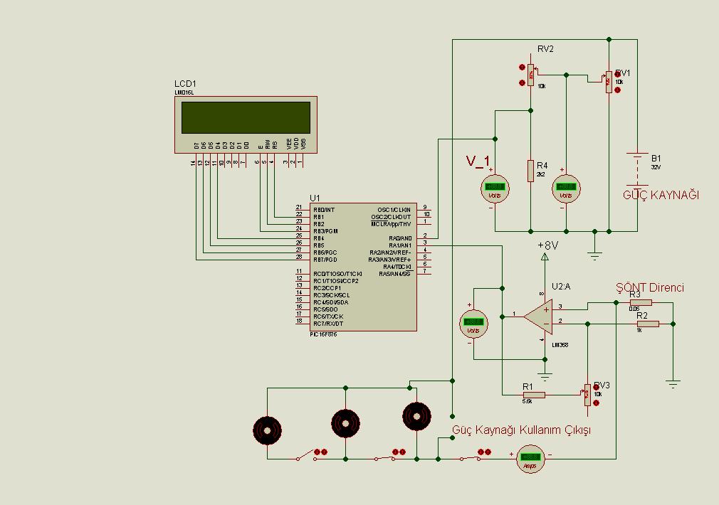 electronic voltmeter ammeter circuit pic16f876 lcd picbasic electronic voltmeter ammeter circuit pic16f876 lcd picbasic volt amper metre devresi lcd voltaj akim olcumu pbp