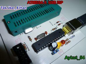 Atmel ATmega8 zif soket usbasp programlayıcı