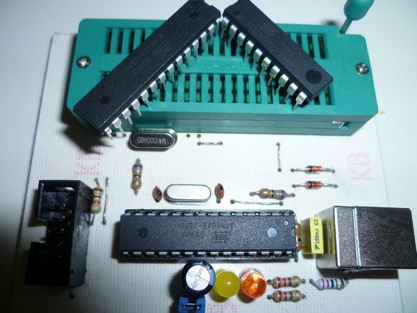 Atmel  USB Programmer Circuit ZIF Socket Usbasp ATmega8 atmel prog usb zif soket