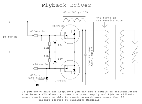 flyback transformer wiring diagram simple flyback driver circuit mosfet electronics projects circuits  simple flyback driver circuit mosfet