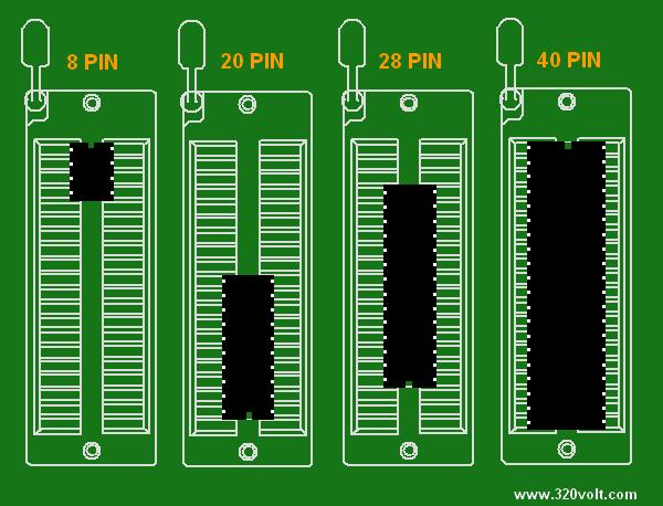 Atmel  USB Programmer Circuit ZIF Socket Usbasp ATmega8 usb prog zif soket atmel baglanti semasi