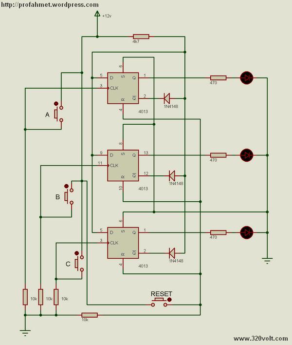 3 Channel Push Button Selector Circuit 3 Kanal push buton devresi cd4013