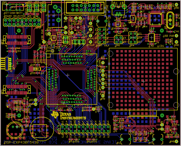 MSP430F5438 Development Board PCB MSP430 Example MSP EXP430F5438 eagle pcb
