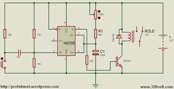 Single Trigger Circuit NE555 Timer ne555 tek tetiklemeli zamanlayici 555 timer circuit relay
