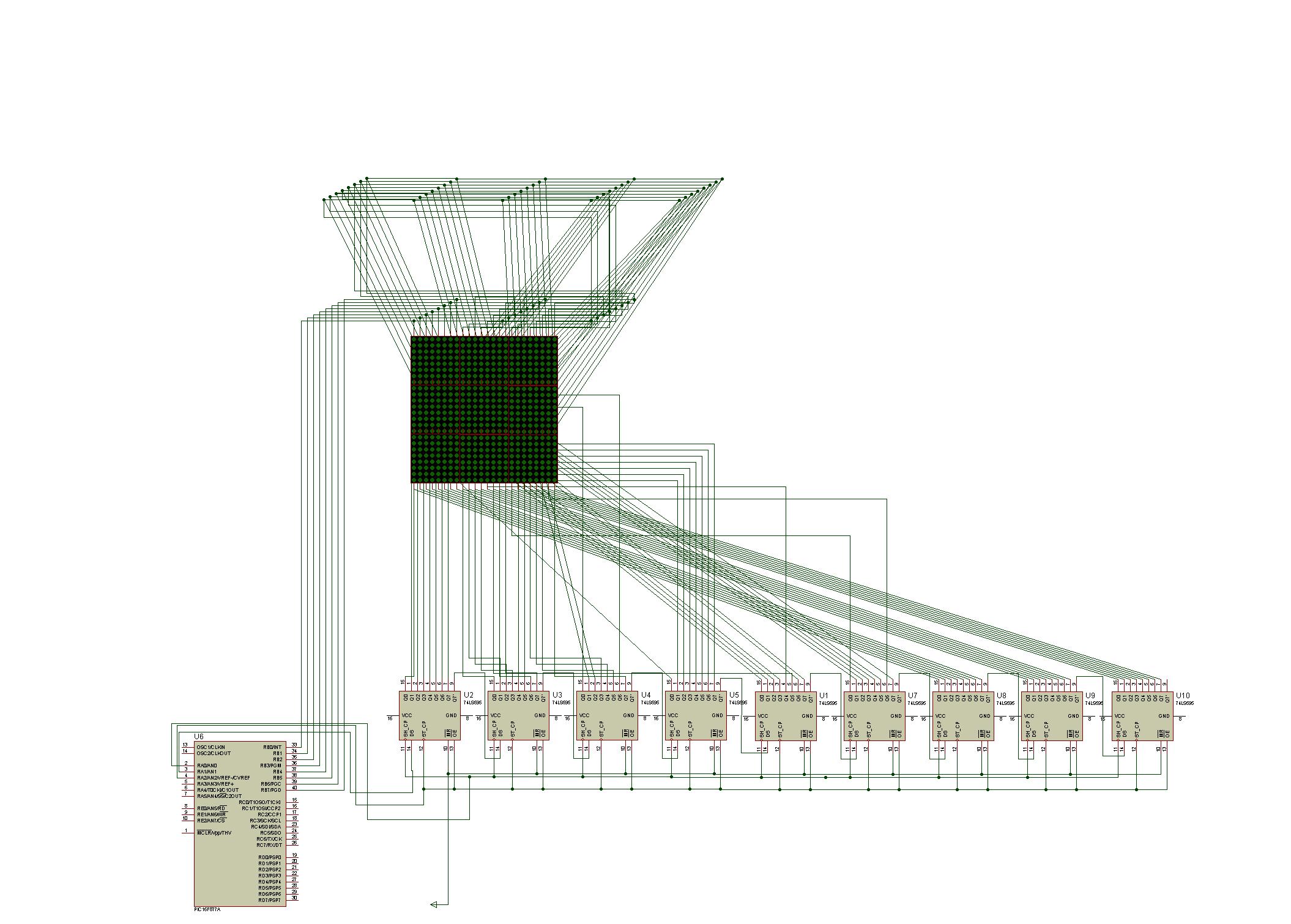 PIC16F877 16X16 LED Matrix 74HC595 Graphic Display Project