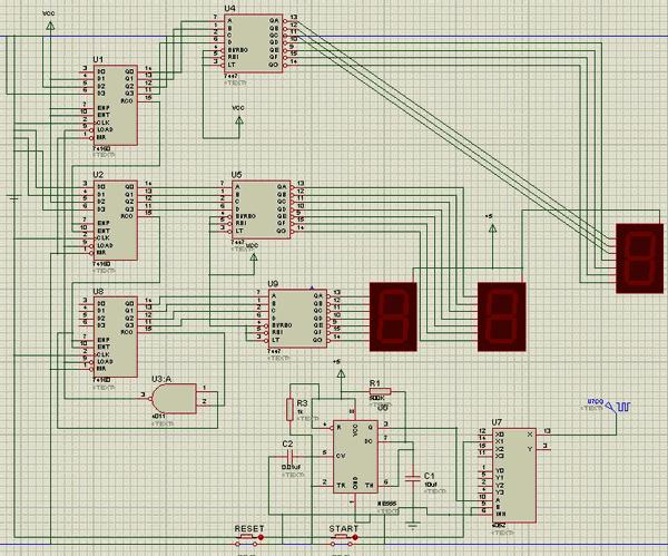 3 Bit Counter Circuit TTL 7447 74160  NE555 sayici devre isis proteus