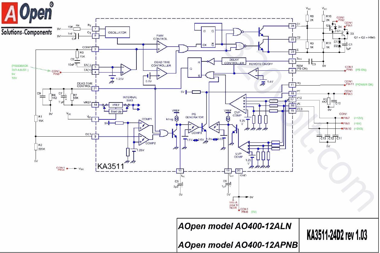Ka3511 Ka1h0165r Aopen Atx Ao400 12a Pfc Elektronik Devreler Projeler Smps Circuit Schematic Dna1005a Zasilacze At