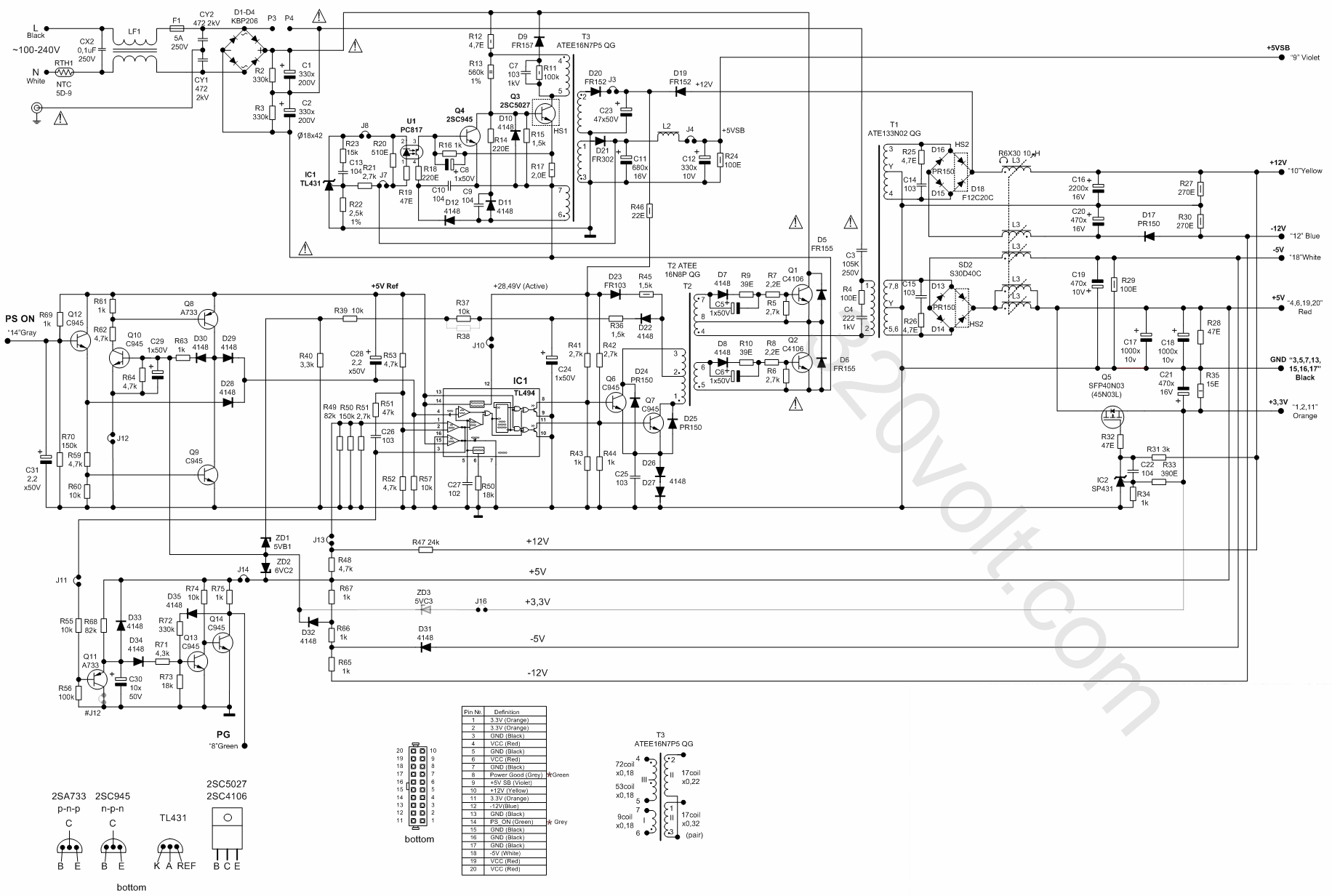 400w Atx Power Supply Circuit Diagram Guide And Troubleshooting Of Pc Computer Schematic 120v Dc Ile Pic Beslemesi Pins