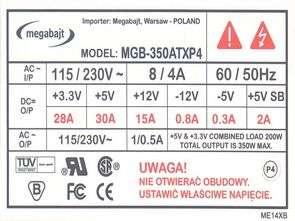 ATX 2003 SMPS Megabajt MGB 350ATX P4