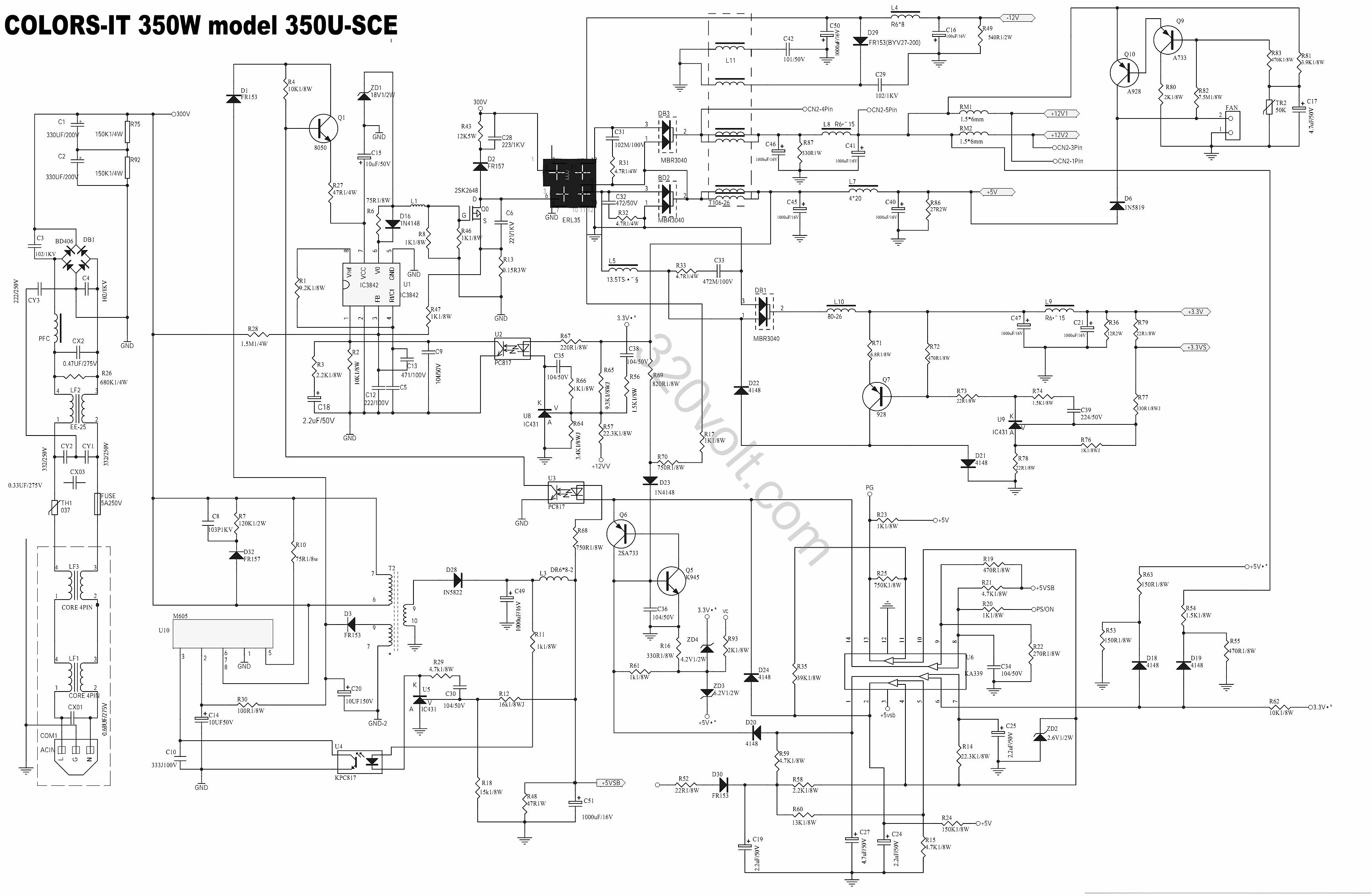 uc3842 m605 ka339 350usce smps atx circuit diagram