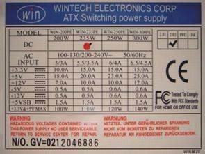 Wintech Electronics TL494 ATX WIN235PE SMPS