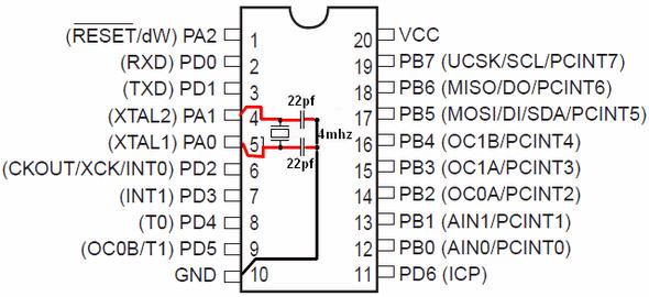 Simple Attiny2313 Programmer Circuit Com Port RS232  PonyProg attiny2313 kristal baglantisi osilator
