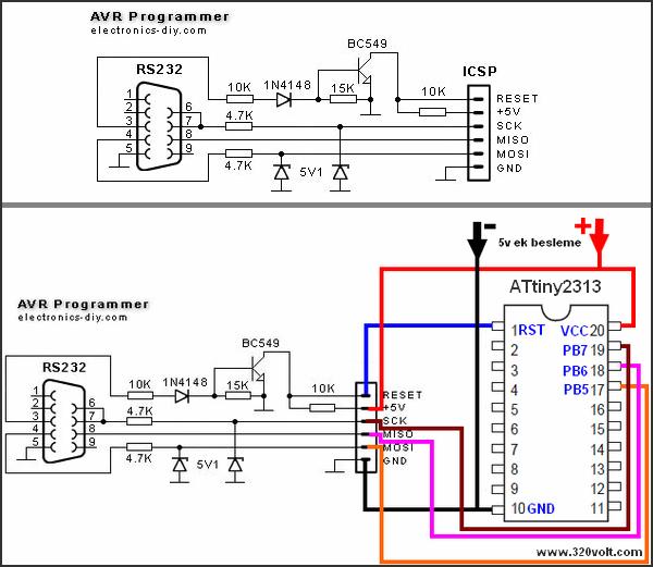 Simple Attiny2313 Programmer Circuit Com Port RS232  PonyProg avr programmer attiny2313 baglantisi