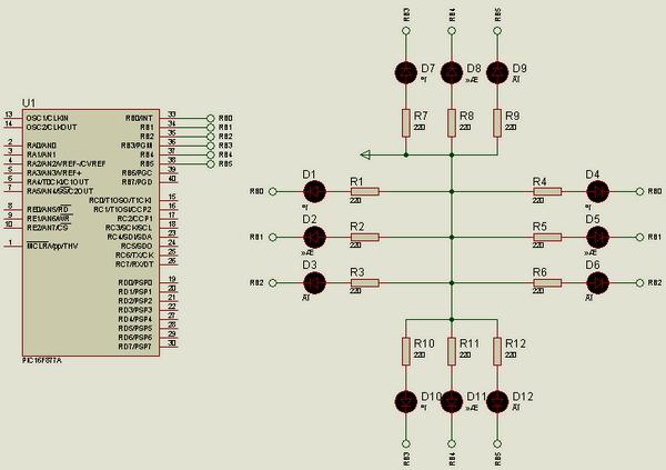 Traffic Light Circuit Hi Tech C Example led leds hi tech c trafikisigi uygulama ornegi