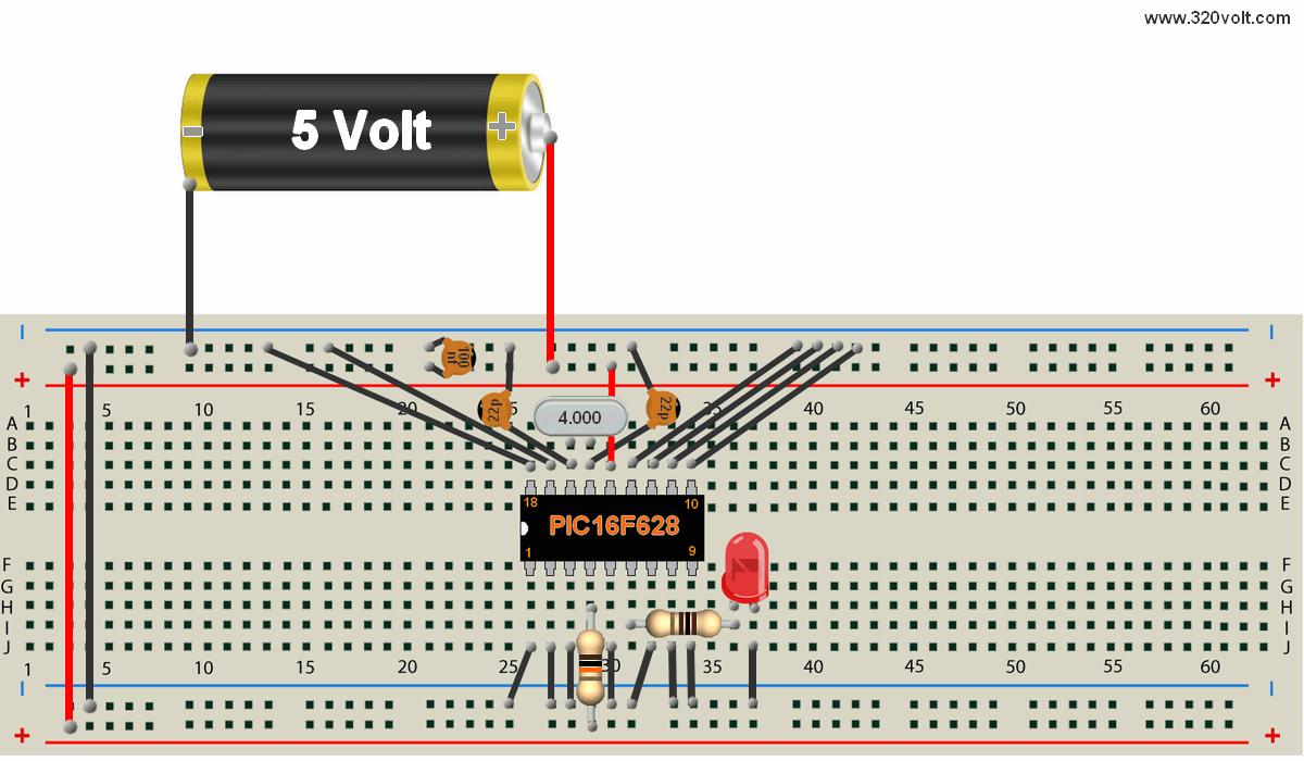 Mikroc Dersleri 1 Elektronik Devreler Projeler Pic16f877 Ks0108 Circuit Examples Microbasic Proteus Isis Breadboard Led Yak 2