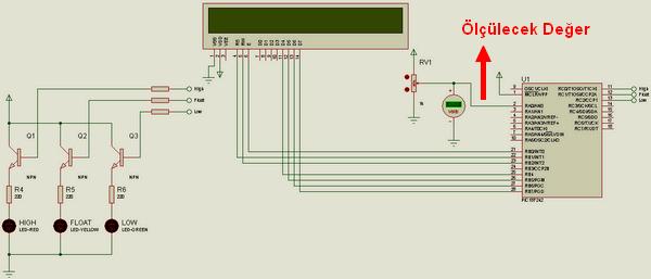 Digital Voltage Probe PIC18F242 voltaj probu olculecek deger proteus isis