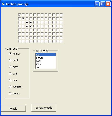 RGB LED Air Writing Visual Basic CCS C PIC16F877 leds rgb Visual Basic code generator rgb program kullanimi