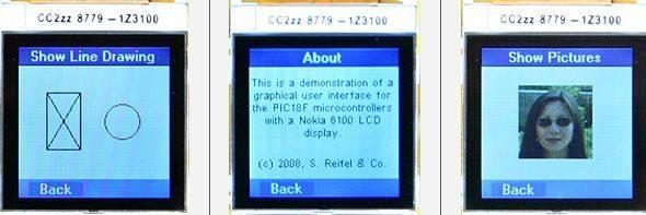 LCD Menu interface Project PIC18F2620 C18 Nokia6100 nokia6100 microchip c18 pic18f nokia menu glcd