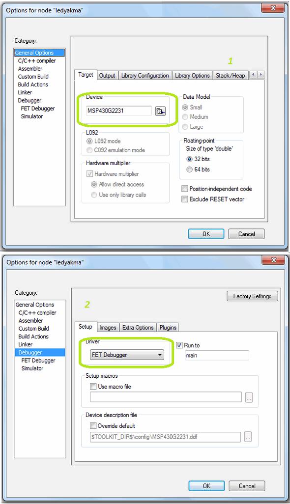 iar-Project-options-MSP430G2231-FET-debugger