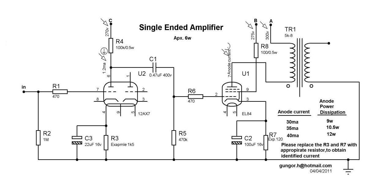 6W Tube Amplifier Project Single Ended EL84 6P43P ECC83 ...  Watt Tube Amp Schematic on
