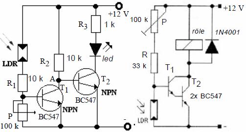 Electronic Circuit Diagrams  Part 2 darlington baglantili karanlikta calisan devre