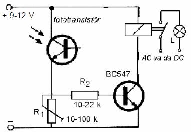 Electronic Circuit Diagrams  Part 2 fototransistorlu isiga duyarli devre