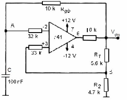 op-ampli-kare-dalga-ureteci-astable-multivibrator-devresi
