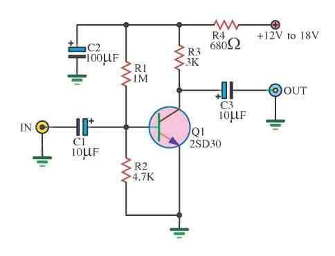 tek-transistorlu-basit-preanfi-devresi-preamplifier-circuit