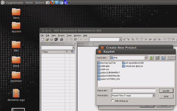 iar-linux-create-new-project-c-main-folder-save