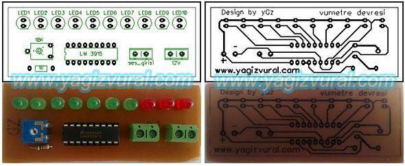10 LED VU Meter Circuit LM3915 lm3915 vumetre pcb