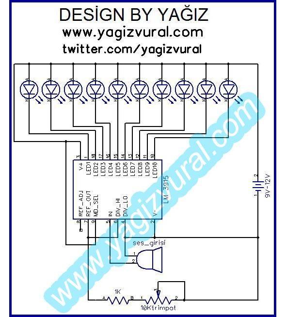 10 LED VU Meter Circuit LM3915 lm3915 vumetre sema