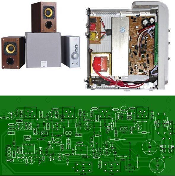 2.1 Microlab Amplifier Circuit TDA2030 microlab schema a 6321 anfi sema pcb tda2030 bass