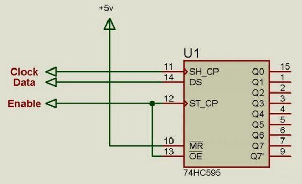 74hc595-proteus-isis-circuit
