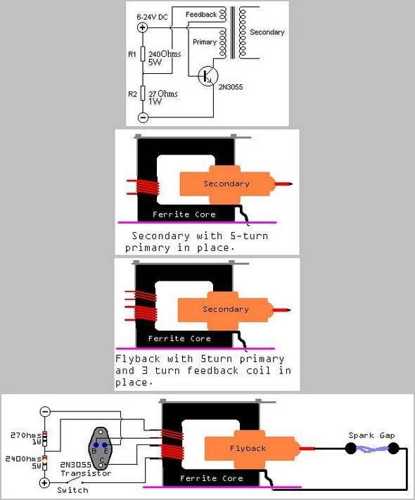 EHT Transformer Driver Circuit High Voltage Flyback Spark  basit flyback surucu eht driver yuksek voltaj ark spark