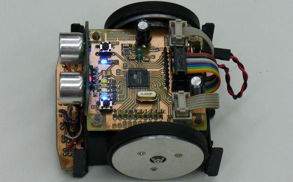 Line Following Robot Project Ultrasonic Sensor Circuit Atmega16 CNY70 SFR05 line flower robot cizgi izleyen robot