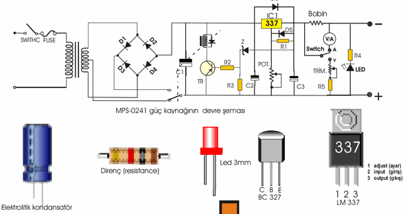 Lm337 Ve Lm317 Ile Basit Guc Kaynaklari on 12v dc power supply circuit